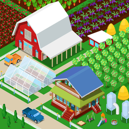 Isometric Rural Farm Agricultural Field with Greenhouse and Garden. Vector 3d flat illustration