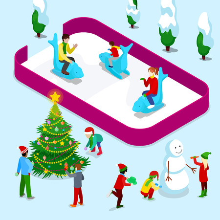Isometric Ice Rink with People and Christmas Children near Christmas Tree and Snowman. Vector 3d flat illustration Illustration