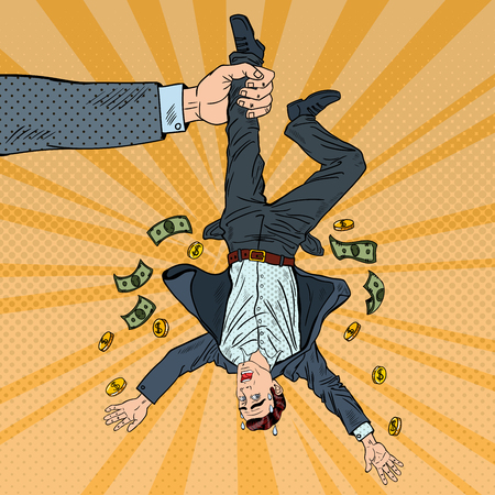 Pop Art Businessman Loosing his Last Money. Bankruptcy Concept. Vector illustration