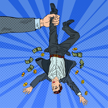 bank robber: Pop Art Businessman Loosing his Last Money. Bankruptcy Concept. Vector illustration