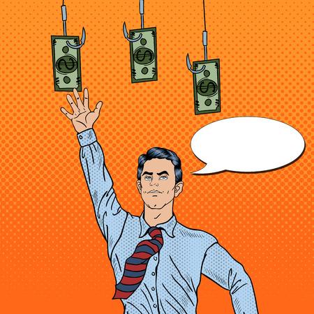 trap: Pop Art Businessman Jumping for Money on Fishing Hooks. Vector illustration