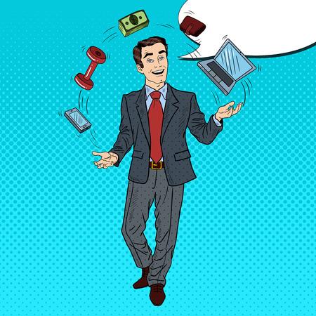 computer art: Pop Art Successful Businessman Juggling Computer, Phone and Money. Vector illustration