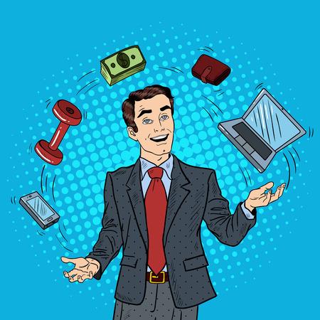 Pop Art exitoso empresario malabares computadora, teléfono y dinero. Ilustración vectorial