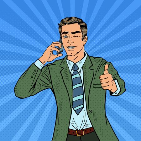 ポップアートの実業家、電話で話していると大きな身振りで示します。ベクトル図