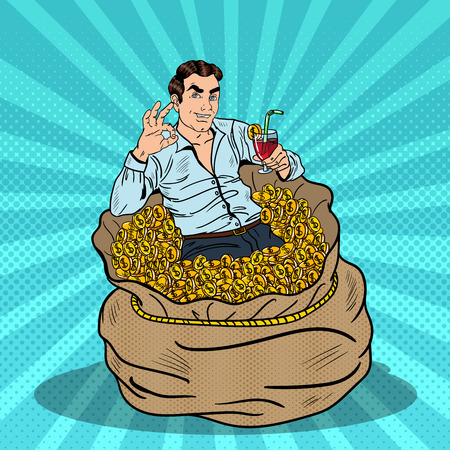 Pop Art Successful Businessman Swimming in Money Bag with a Cocktail and Gesturing OK. Vector illustration
