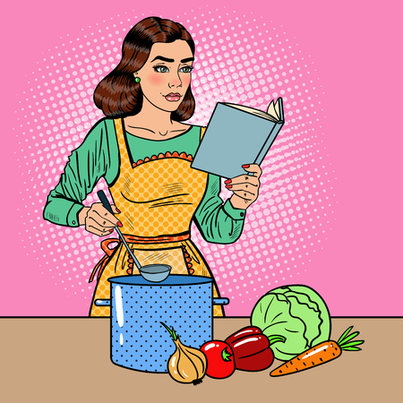Pop Art Beautiful Housewife Cooking Soup in the Kitchen with Book of Recipes. Vector illustration