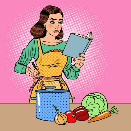 Pop Art Mooie Huisvrouw Koken Soep In De Keuken Met Boek Recepten. Vector illustratie Stockfoto - 66572686