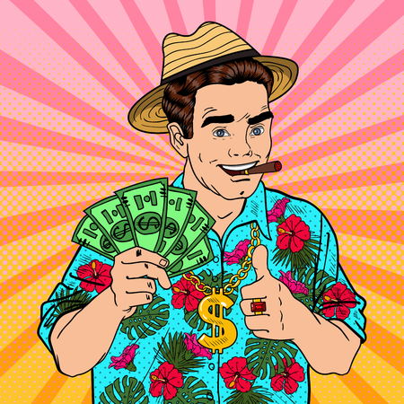 man: Pop Art Rich Man with Dollar Banknotes and Cigar on Tropical Vacation. Vector illustration