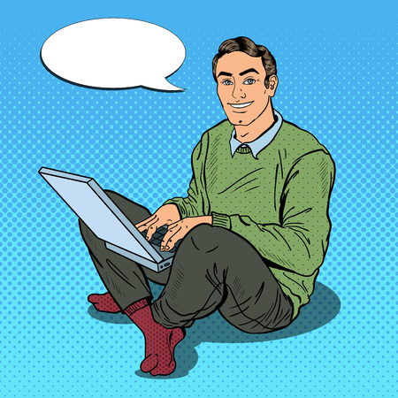 computer art: Pop Art Smiling Young Man Working with Laptop. Vector illustration