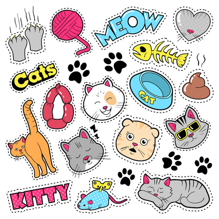 Funny Cats Badges, Patches, Stickers - Cat Fish Clutches in Comic Style. doodle Illustration
