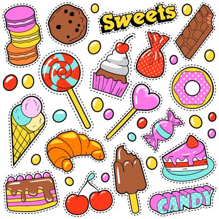 パッチ、ステッカー、お菓子、ケーキ、ポップなアート コミック スタイルのアイス クリームと甘い食べ物バッジ セット。図