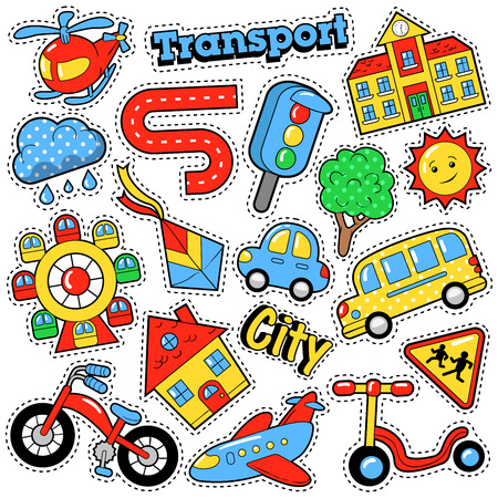 Kids Fashion Badges, Patches, Stickers in Comic Style Education City Transport Theme with Bicycle, Cars and Bus. Retro Background