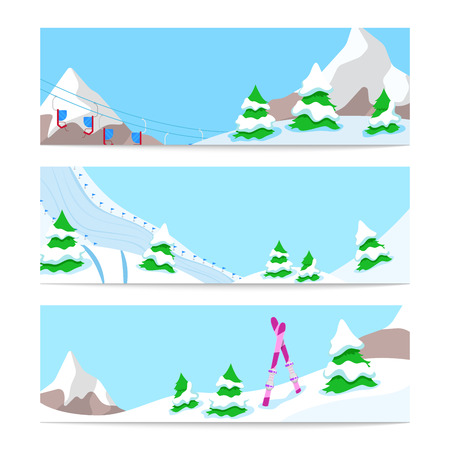 downhill skiing: Winter Holidays Skiing Horizontal Banners Template with Snow Downhill and Mountains. Vector background Illustration