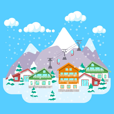 Mountain Ski Resort with Winter Landscape, Hotels and Lift. background