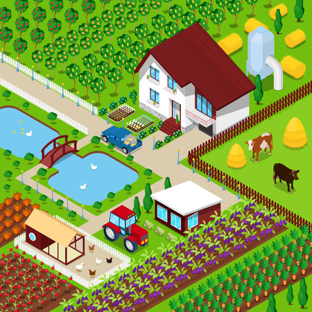 Isometric Rural Farm Agricultural Field with Animals and House. 3d flat illustration