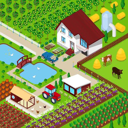 Isometrischen ländlichen Bauernhof Landwirtschaft Feld mit Tieren und House. 3d flache Illustration Standard-Bild - 65604941