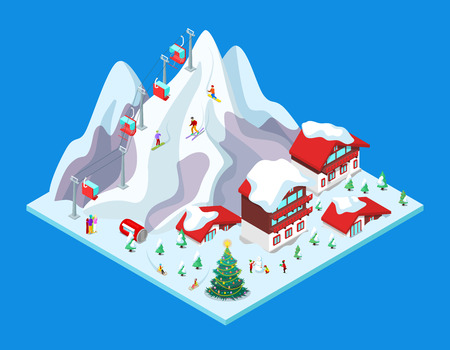 Isometric Ski Resort with Hotel Buildings, Snowy Mountains and Lift. 3d flat illustration
