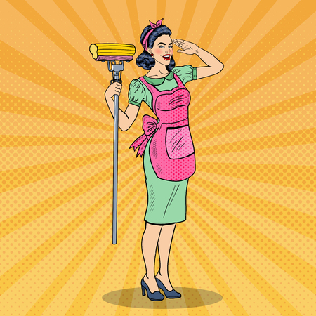 mom and pop: Pop Art Young Confident Housewife Woman Cleaning House with Mop.  illustration