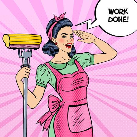 Pop Art Młody pewność gospodyni kobieta czyszczenia Dom z mopa. ilustracja