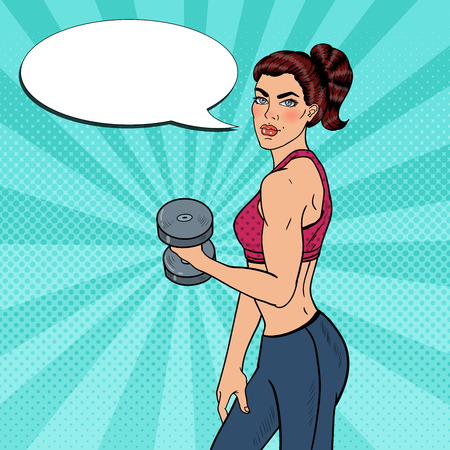 Pop Art Athletic Strong Woman Exercising with Dumbbells. illustration Illustration