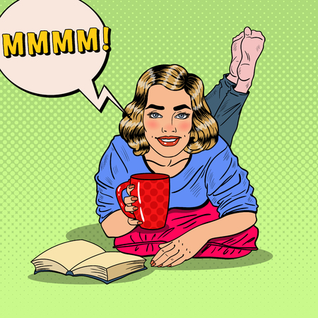 woman drinking coffee: Pop Art Young Smiling Woman Drinking Coffee and Reading Book. illustration