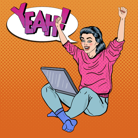 computer art: Pop Art Excited Young Woman with Laptop and Hands Up. illustration Illustration