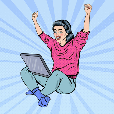 woman laptop: Pop Art Excited Young Woman with Laptop and Hands Up.  illustration Illustration