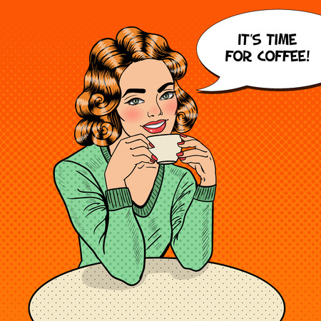drink coffee: Pop Art Young Beautiful Woman Drinking Coffee in Cafe. illustration