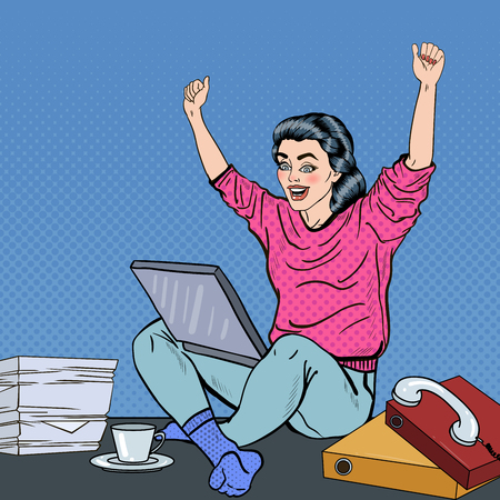 great coffee: Pop Art Excited Young Woman with Laptop Sitting on the Office Desk with Papers.  illustration