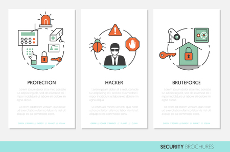fingerprint card: Security and Safety Business Brochures Template in Thin Line Style with Shield and Safe. Vector illustration Illustration