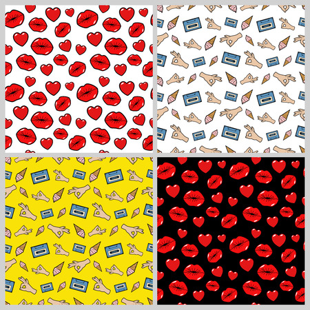 80s adult: Lips, Kiss, Hands and Hearts Seamless Pattern Set. Love and Fashion Backgrounds in Retro Style. Vector illustration