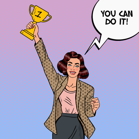 Pop Art Business Woman Winner with Golden Cup. Vector illustration Illustration