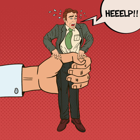 oppression: Employer Big Hand Squeezes Pop Art Office Worker. Oppression at Work. Vector illustration