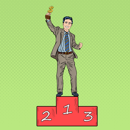 Pop Art Happy Businessman Holding Golden Winners Cup on First Place Podium. Vector illustration