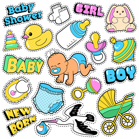 baby stickers: New Born Baby Stickers, Patches, Badges Scrapbook Baby Shower Decoration Set with Stork and Toys. Vector Doodle Comic Style