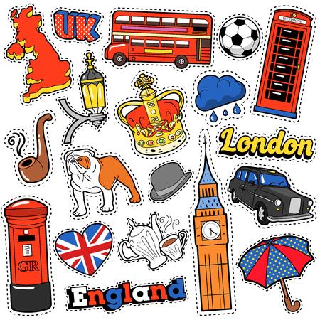Inglaterra del libro de recuerdos de viaje pegatinas, parches, insignias para imprimir con taxi de Londres, Royal Crown y elementos británicos. Cómica del vector del Doodle Estilo