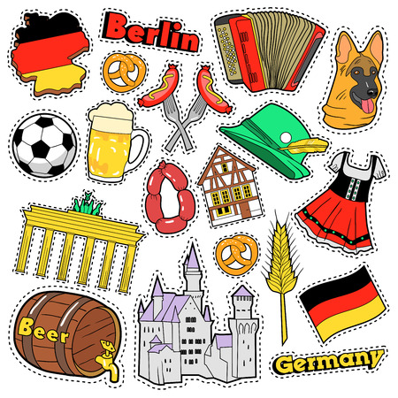 german sausage: Germany Travel Scrapbook Stickers, Patches, Badges for Prints with Sausage, Flag, Architecture and German Elements. Comic Style Vector Doodle