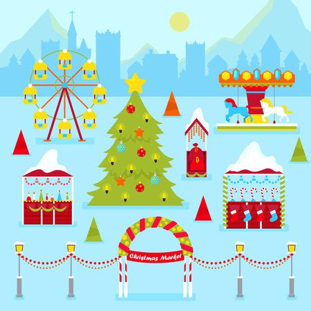 christmas market: Christmas Market Fair with Winter Holidays Traditional Kiosks, Christmas Tree and Carousel. Vector illustration