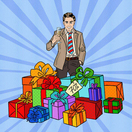 Pop Art Happy Man with Big Gift Boxes and Champagne Glass. Vector illustration Illustration