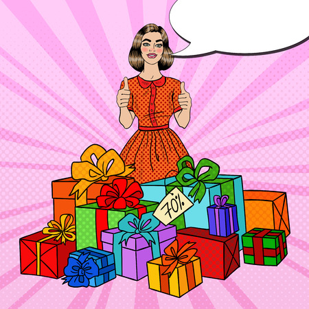 Pop Art Beautiful Woman with Huge Gift Boxes and Thumbs Up. Vector illustration Illustration
