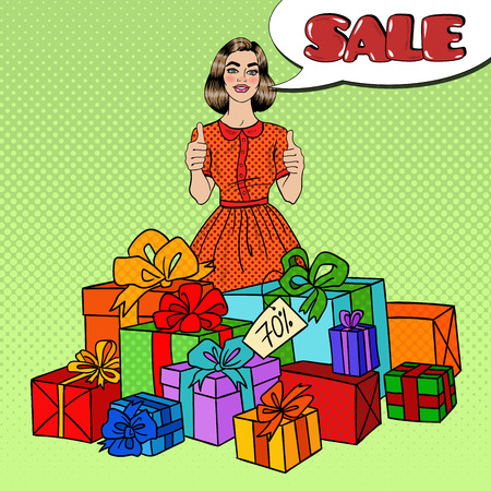 Pop Art Beautiful Woman with Huge Gift Boxes, Thumbs Up and Comic Speech Bubble Sale. Vector illustration Illustration