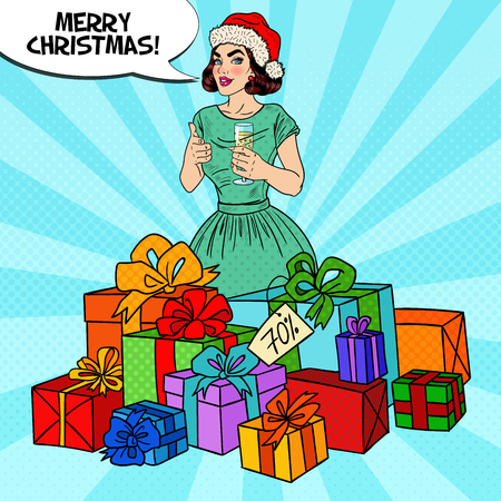 Pop Art Happy Woman in Santa Hat with Big Gift Boxes and Champagne Glass. Vector illustration