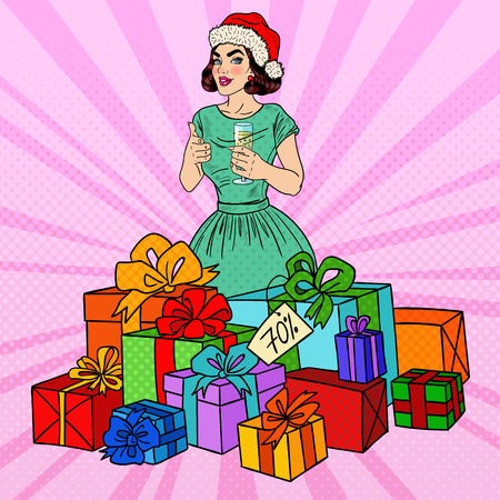 champagne pop: Pop Art Happy Woman in Santa Hat with Big Gift Boxes and Champagne Glass. Vector illustration