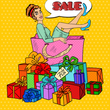 happy shopper: Pop Art Happy Woman in Big Shopping Bag with Huge Gift Boxes. Vector illustration Illustration