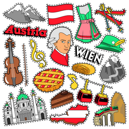mozart: Austria Travel Scrapbook Stickers, Patches, Badges for Prints with Alps, Cake and Austrian Elements. Comic Style Vector Doodle