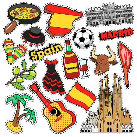 Spain Travel Scrapbook Stickers, Patches, Badges for Prints with Jamon, Sangria and Spanish Elements. Comic Style Vector Doodle
