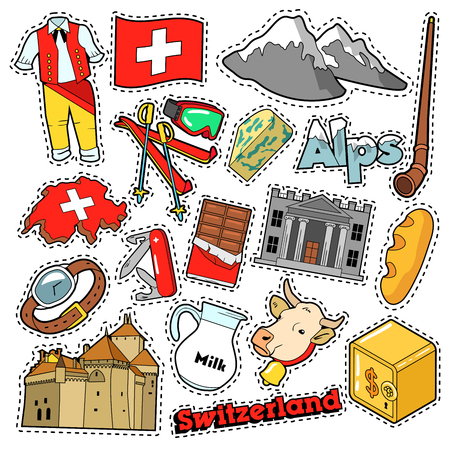 swiss flag: Switzerland Travel Scrapbook Stickers, Patches, Badges for Prints with Alps, Money and Swiss Elements. Comic Style Vector Doodle