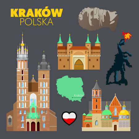 Krakow Poland Travel Doodle with Krakow Architecture, Dragon and Flag. Vector illustration