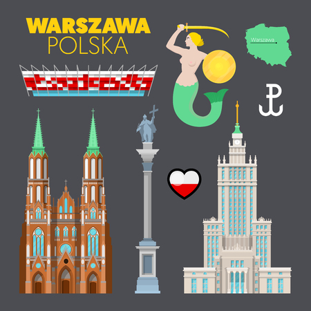 Warschau Polen Reise Gekritzel mit Warschau Architektur, Meerjungfrau Symbol und Flagge. Vektor-Illustration Vektorgrafik