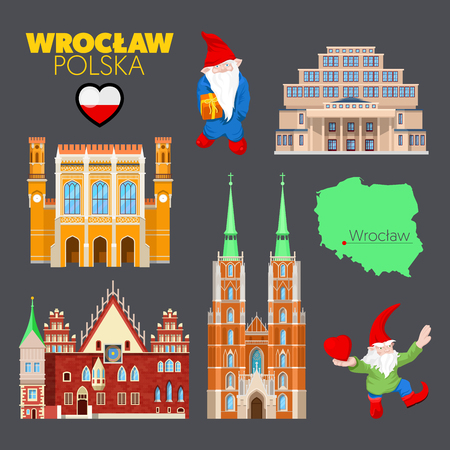 Wroclaw Poland Travel Doodle with Wroclaw Architecture, Dwarfs and Flag. Vector illustration Illustration
